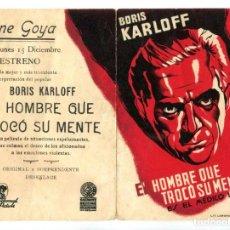 Cine: EL HOMBRE QUE TRONCÓ SU MENTE, CON BORIS KARLOFF.. Lote 269194008