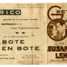 Cine: SUSAN LENOX, CON GRETA GARBO. 17,5 X 26,5 CMS. DESPLEGADO.. Lote 269337453