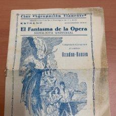 "Cine: FOLLETO DE CINE ""EL FANTASMA DE LA ÓPERA ""SIN FECHA DEFINIDA.. Lote 269358233"