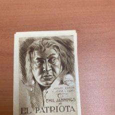 """Cine: FOLLETO DE CINE ANTIGUO """"EL PATRIOTA"""". SIN FECHA DEFINIDA. PARAMOUNT.. Lote 269366868"""