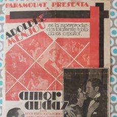 Cine: AMOR AUDAZ, PARAMOUNT AÑOS 30, PROGRAMA TAMAÑO GUIA. Lote 269409048