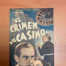 "Cine: FOLLETO DE CINE ANTIGUO ""EL CRIMEN DEL CASINO"". PROGRAMA DOBLE 1936.. Lote 269410248"