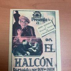 """Cine: FOLLETO DE CINE ANTIGUO """"EL HALCÓN """".ALMIRAL FILMS 1933. DOBLE.. Lote 269605803"""