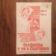 Cine: PROGRAMA FOLLETO CINE TU A BOSTON Y YO A CALIFORNIA HAYLEY MILLS 1962 MATARO. MONUMENTAL, MODERNO. Lote 269646783