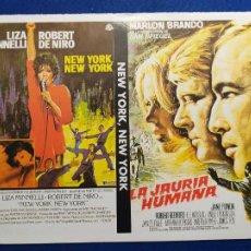 Cine: 2 FOLLETOS O PROGRAMAS DE MANO. LA JAURÍA HUMANA Y NEW YORK, NEW YORK. Lote 269697988