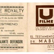 Cine: EL TESTAMENTO DEL DR. MABUSE, DE FRITZ LANG.. Lote 269748603