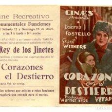 Cine: CORAZONES EN EL DESTIERRO, CON DOLORES COSTELLO.. Lote 269754448