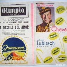 Cine: EL DESFILE DEL AMOR, CON MAURICE CHEVALIER. 15 X 23 CMS. PLEGADO.. Lote 269755258