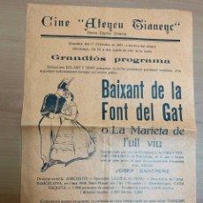 """Cine: FOLLETO DE CINE ANTIGUO """"BAIXANT DE LA FONT DEL GAT"""".1931.. Lote 269801038"""