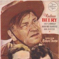 Cine: PROGRAMA DE CINE – PUÑO DE HIERRO – WALLACE BEERY – S/P. Lote 269972178