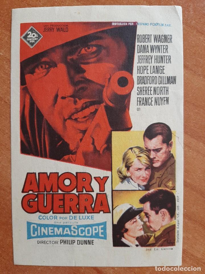 PROGRAMA DE MANO : AMOR Y GUERRA (Cine - Folletos de Mano - Bélicas)