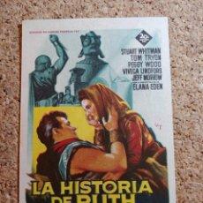 Flyers Publicitaires de films Anciens: FOLLETO DE MANO DE LA PELÍCULA LA HISTORIA DE RUTH CON PUBLICIDAD. Lote 270001838