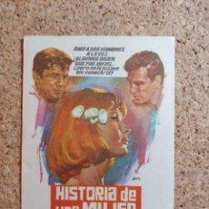 Cine: FOLLETO DE MANO DE LA PELÍCULA HISTORIA DE UNA MUJER. Lote 270126318