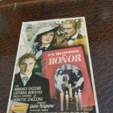 Cine: PROGRAMA DE MANO ORIG - UN HOMBRE DE HONOR - CON CINE CASINO IMPRESO AL DORSO. Lote 270139818