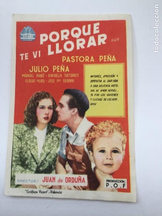 PORQUE TE VI LLORAR (Cine - Folletos de Mano - Clásico Español)