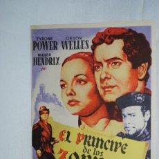 Cine: EL PRINCIPE DE LOS ZORROS , TEATRO ANDALUCIA , CADIZ 1950 .. Lote 270167623