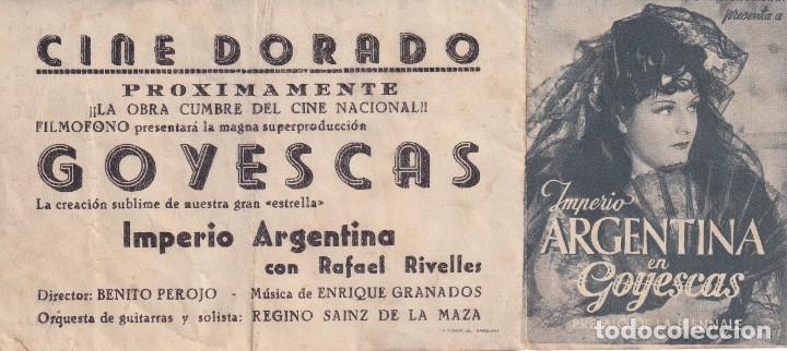 GOYESCAS .- IMPERIO ARGENTINA (Cine - Folletos de Mano - Clásico Español)