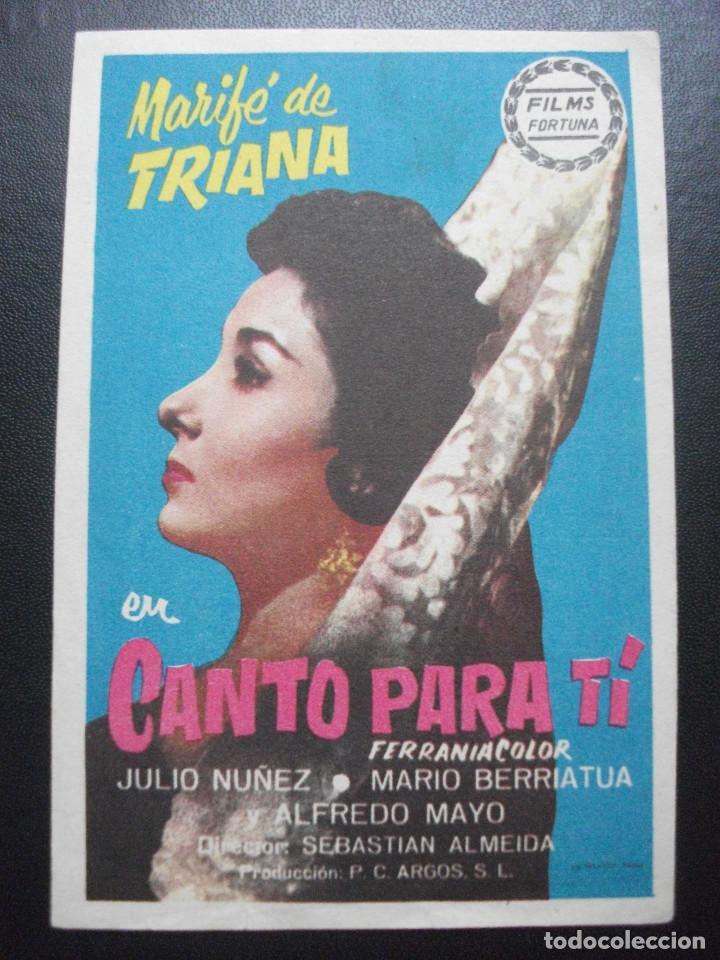 CANTO PARA TÍ, MARIFÉ DE TRIANA (Cine - Folletos de Mano - Clásico Español)