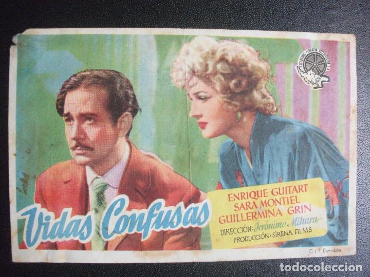 VIDAS CONFUSAS, SARA MONTIEL, CINE PEQUEÑO CASINO, SAN SEBASTIAN (Cine - Folletos de Mano - Clásico Español)