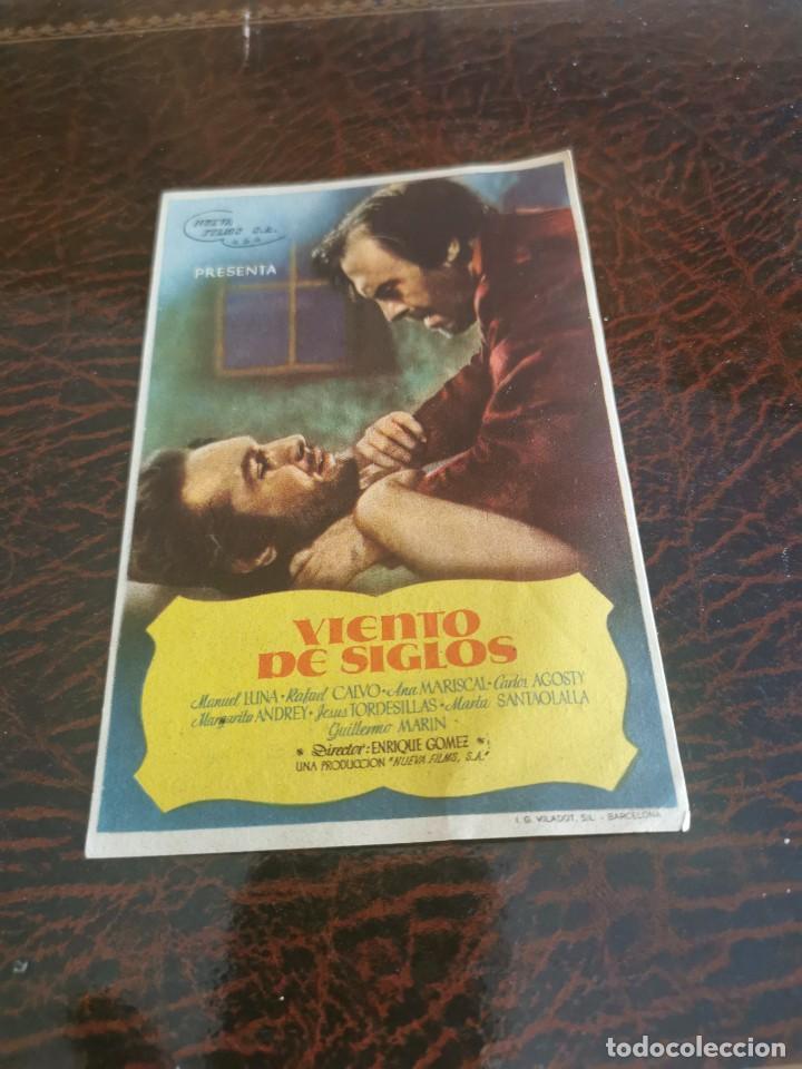 PROGRAMA DE MANO ORIG - VIENTO DE SIGLOS - CON CINEMA SALAMANCA IMPRESO AL DORSO (Cine - Folletos de Mano - Clásico Español)