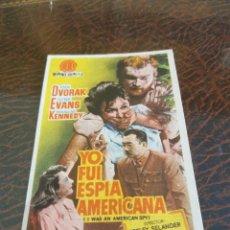 Cine: PROGRAMA DE MANO ORIG - YO FUI ESPIA AMERICANA - CON CINE DE ALICANTE IMPRESO AL DORSO. Lote 270204748