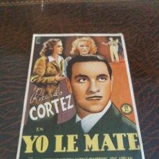 Cine: PROGRAMA DE MANO ORIG - YO LE MATE - CON CINE TRIUNFO IMPRESO AL DORSO. Lote 270204923