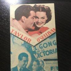 Cine: EL GONG DE LA VICTORIA - PROGRAMA DE CINE DOBLE TROQUELADO - CINE BADALONA C/P 1940. Lote 270399278