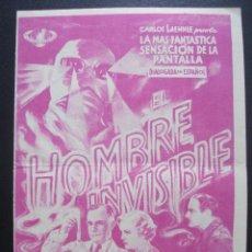 Cine: EL HOMBRE INVISIBLE, CLAUDE RAINS, CINE NORBA DE CACERES. Lote 270518493