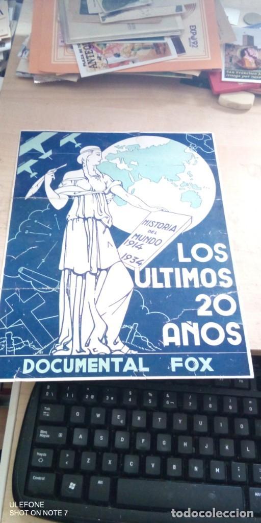 ORIGINAL: LOS ULTIMOS 20 AÑOS, DOCUMENTAL FOX 1935 HISTORIA DEL MUNDO 1914- 1934 (Cine - Folletos de Mano - Documentales)
