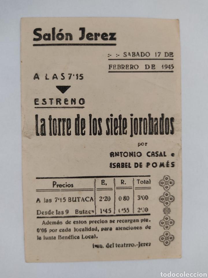 Cine: La torre de los siete jorobados Antonio Casal Isabel de Pomes Salon Jerez año 1945 - Foto 2 - 271805578