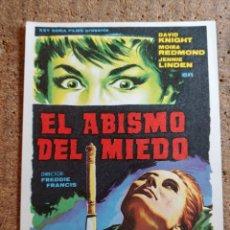 Folhetos de mão de filmes antigos de cinema: FOLLETO DE MANO DE LA PELÍCULA EL ABISMO DEL MIEDO. Lote 271923603
