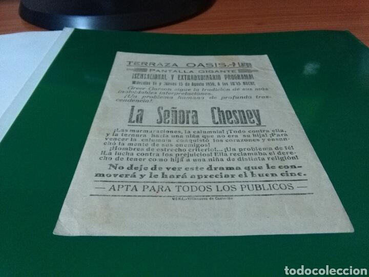 Cine: Antiguo programa de cine grande. La señora Chesney. Terraza Oasis. Villanueva de Castellón - Foto 2 - 272739888