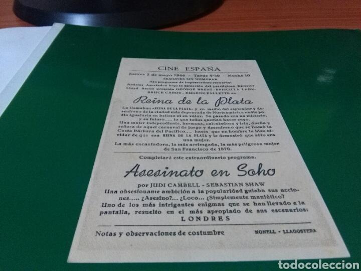 Cine: Antiguo programa de cine Reina de la plata. Cine España de Llagostera - Foto 2 - 272744738