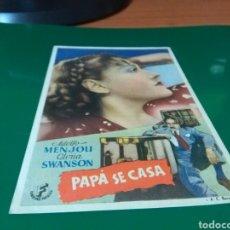 Cine: ANTIGUO PROGRAMA DE CINE PAPÁ SE CASA. TEATRO CINE EUTERPE DE SABADELL. Lote 272745173