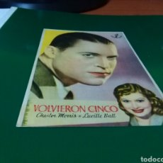 Cine: ANTIGUO PROGRAMA DE CINE VOLVIERON CINCO. TEATRO CINE EUTERPE DE SABADELL. 1944. Lote 272747368