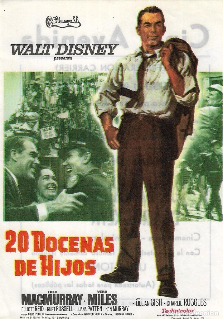 PN - PROGRAMA DE CINE - 20 DOCENAS DE HIJOS - FRED MACMURRAY - WALT DISNEY - CINE AVENIDA (MÁLAGA) (Cine - Folletos de Mano - Infantil)
