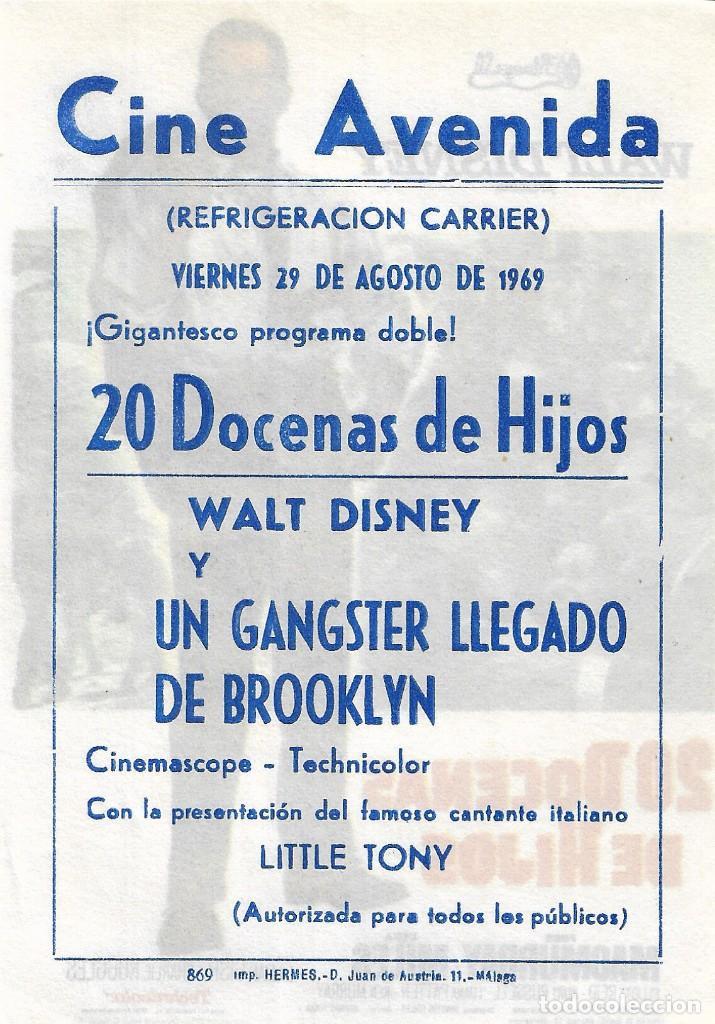 Cine: PN - PROGRAMA DE CINE - 20 DOCENAS DE HIJOS - FRED MACMURRAY - WALT DISNEY - CINE AVENIDA (Málaga) - Foto 2 - 273270468