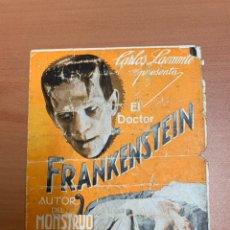 """Folhetos de mão de filmes antigos de cinema: FOLLETO DE CINE ANTIGUO """"EL DR. FRANKESTEIN"""".UNIVERSAL PICTURES. 1932. PROGRAMA DOBLE.. Lote 273928713"""