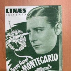 """Folhetos de mão de filmes antigos de cinema: FOLLETO DE CINE ANTIGUO """"PARÍS-MONTECARLO"""" 1934. PROGRAMA DOBLE. MUSICAL.. Lote 274199728"""