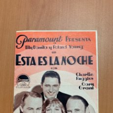"Folhetos de mão de filmes antigos de cinema: FOLLETO DE CINE ANTIGUO "" ESTÁ ES LA NOCHE"" PARAMOUNT 1933. PROGRAMA DOBLE.. Lote 274226153"
