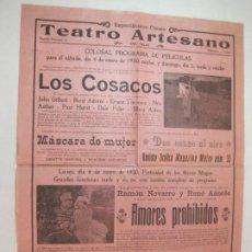 Cine: VILANOVA I GELTRU-TEATRO ARTESANO-PROGRAMA DE CINE 4 DE ENERO 1930-VER FOTOS-(K-3647). Lote 274401643