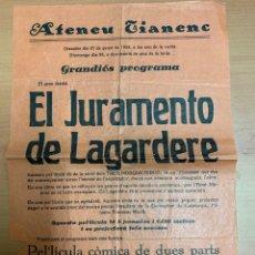 """Folhetos de mão de filmes antigos de cinema: FOLLETO DE CINE ANTIGUO """"EL JURAMENTO DE LAGARDERE"""". 1934.PROGRAMA LOCAL. CARTEL. Lote 275031903"""
