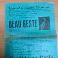 """Folhetos de mão de filmes antigos de cinema: FOLLETO DE CINE ANTIGUO """"BEAU GESTE"""". 1929.PROGRAMA LOCAL. CARTEL.. Lote 275035693"""