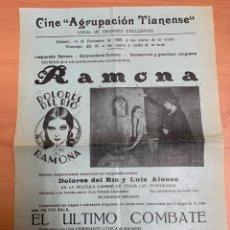 "Folhetos de mão de filmes antigos de cinema: FOLLETO DE CINE ANTIGUO ""RAMONA"". DOLORES DEL RÍO. 1929. PROGRAMA LOCAL. CARTEL.. Lote 275036173"