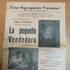 """Folhetos de mão de filmes antigos de cinema: FOLLETO DE CINE ANTIGUO """"LA PEQUEÑA VENDEDORA"""". 1929. MARY PICKFORD. PROGRAMA LOCAL. CARTEL.. Lote 275038078"""