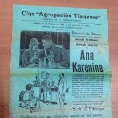 """Folhetos de mão de filmes antigos de cinema: FOLLETO DE CINE ANTIGUO """"ANNA KARENINA"""". JOHN GILBERT Y GETA GARBO.1930. PROGRAMA LOCAL. CARTEL.. Lote 275046133"""