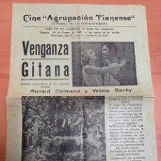 """Folhetos de mão de filmes antigos de cinema: FOLLETO DE CINE ANTIGUO """"VENGANZA GITANA"""".1930. PROGRAMA LOCAL . CARTEL.. Lote 275047403"""