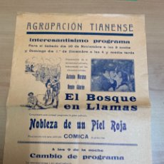 """Folhetos de mão de filmes antigos de cinema: FOLLETO DE CINE ANTIGUO """"EL BOSQUE EN LLAMAS"""". PROGRAMA LOCAL. CARTEL.. Lote 275058248"""