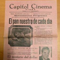 """Folhetos de mão de filmes antigos de cinema: FOLLETO DE CINE ANTIGUO """"EL PAN NUESTRO DE CADA DÍA"""". MARY DUNCAN. AÑOS 30'S. PROGRAMA LOCAL. CARTEL. Lote 275059553"""