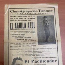 """Folhetos de mão de filmes antigos de cinema: FOLLETO DE CINE ANTIGUO """"EL ÁGUILA AZUL"""". FOX. GEORGE O'BRIEN.PROGRAMA LOCAL. CARTEL.. Lote 275065303"""